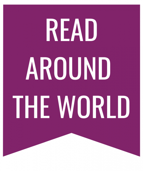 Read Around the World in white text on purple bookmark