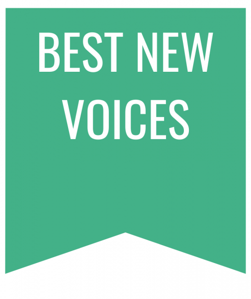 best new voices in white text on green bookmark