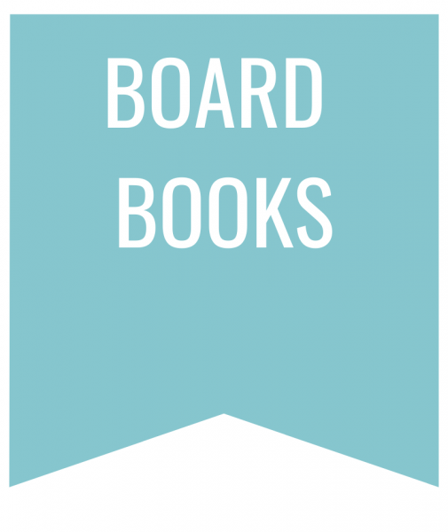 board books in white text on blue bookmark
