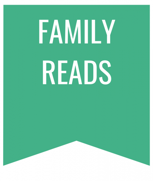 family reads in white text on green bookmark