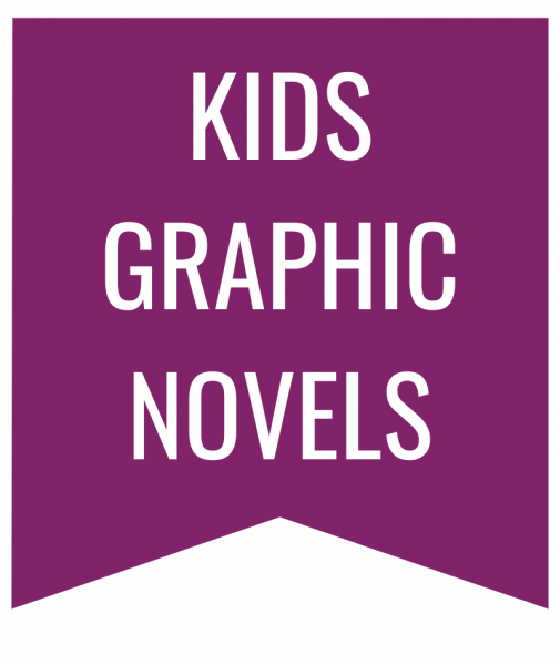 kids graphic novels in white text on purple bookmark