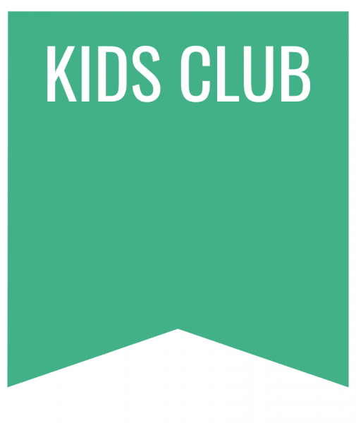 kids club in white letters on green bookmark