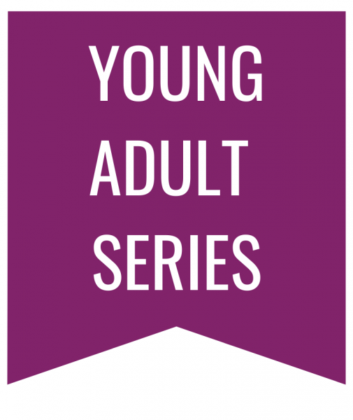 young adult series in white text on purple bookmark