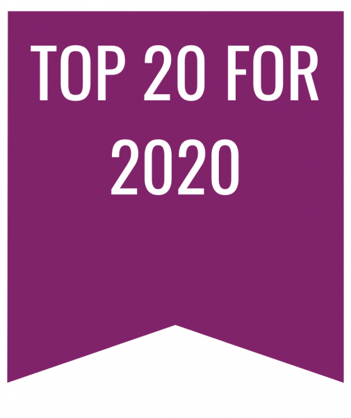 Top 20 for 2020 in white text on purple bookmark