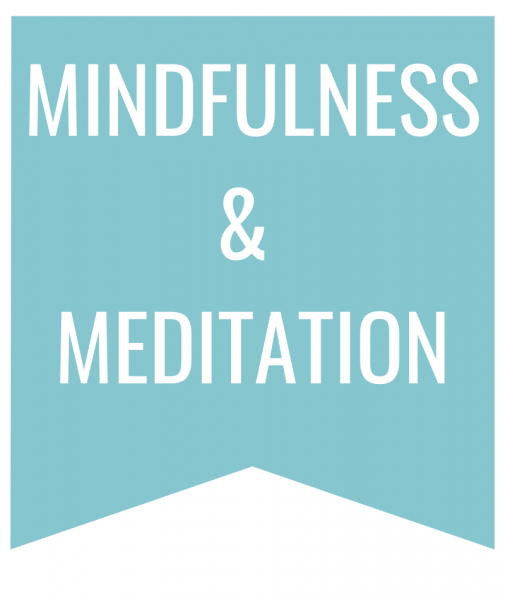 Mindfulness & Meditation in white text on blue bookmark