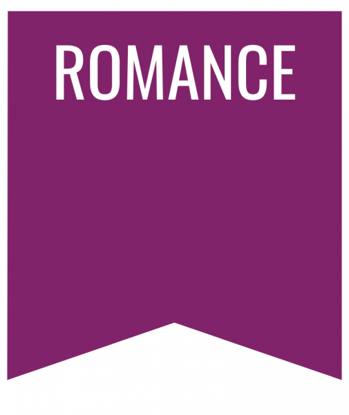 Romance in white text on purple background