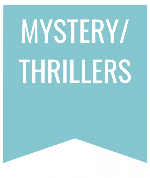 mystery thriller in white text on blue bookmark