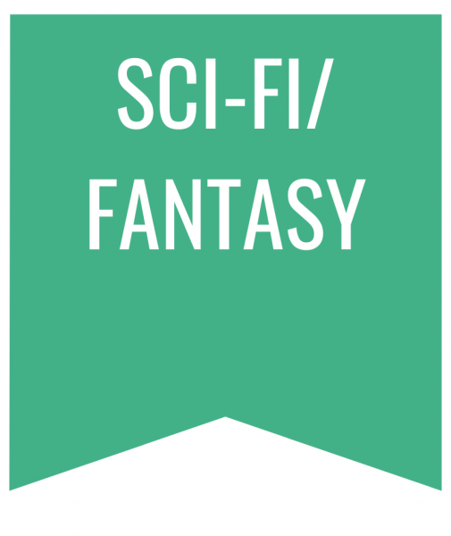 Sci-Fi/Fantasy in white text on green bookmark