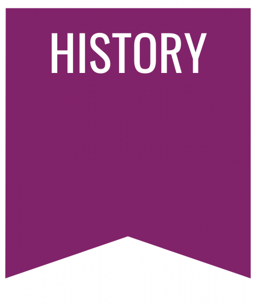 History in white text on purple bookmark