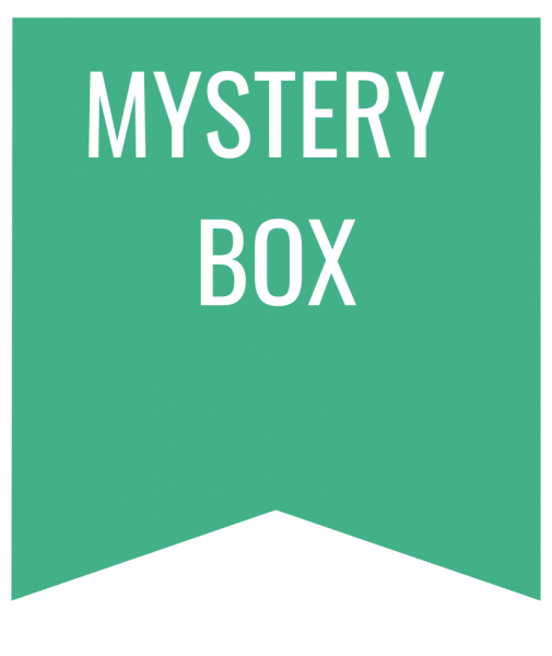 Mystery Box in white text on green bookmark