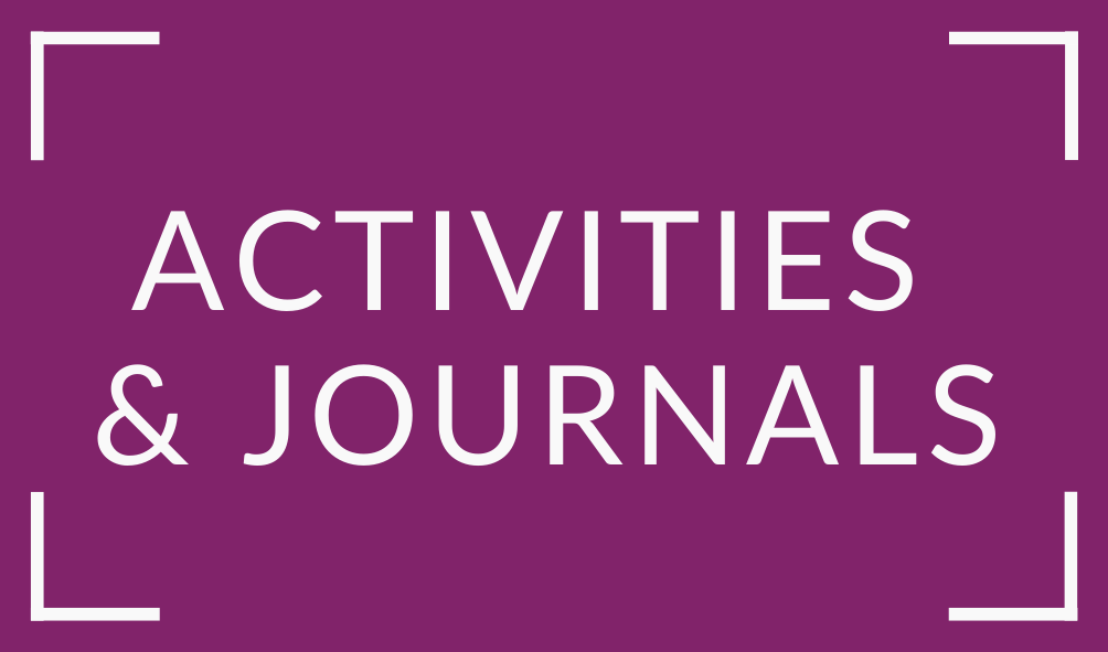 Text: Activities and Journals on Purple Box