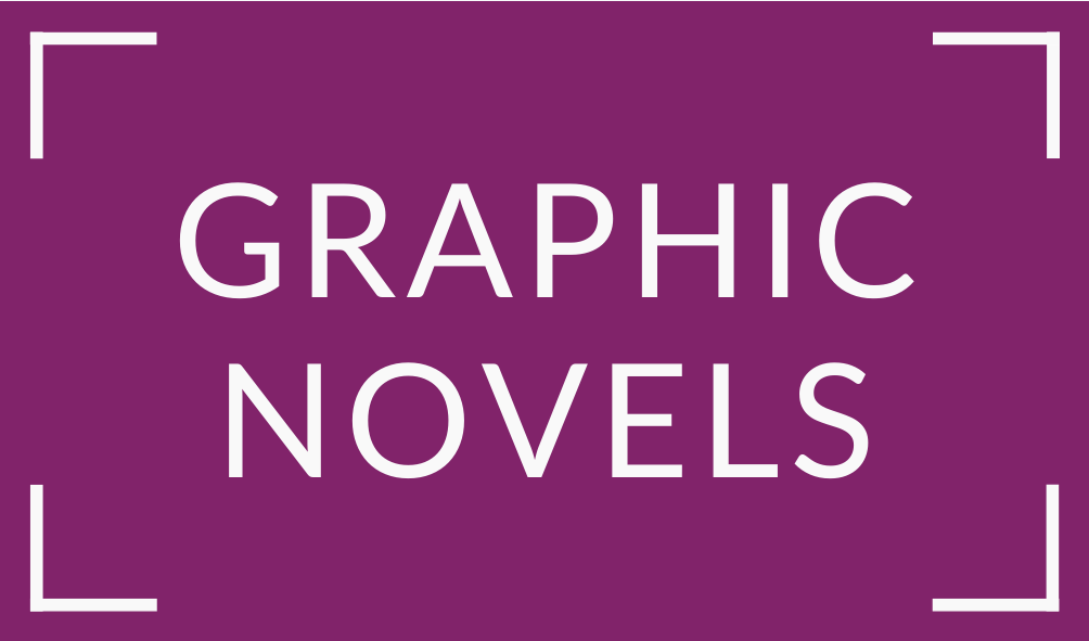 white text graphic novels on purple background