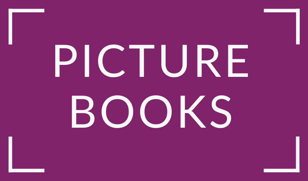 white text picture books on purple background