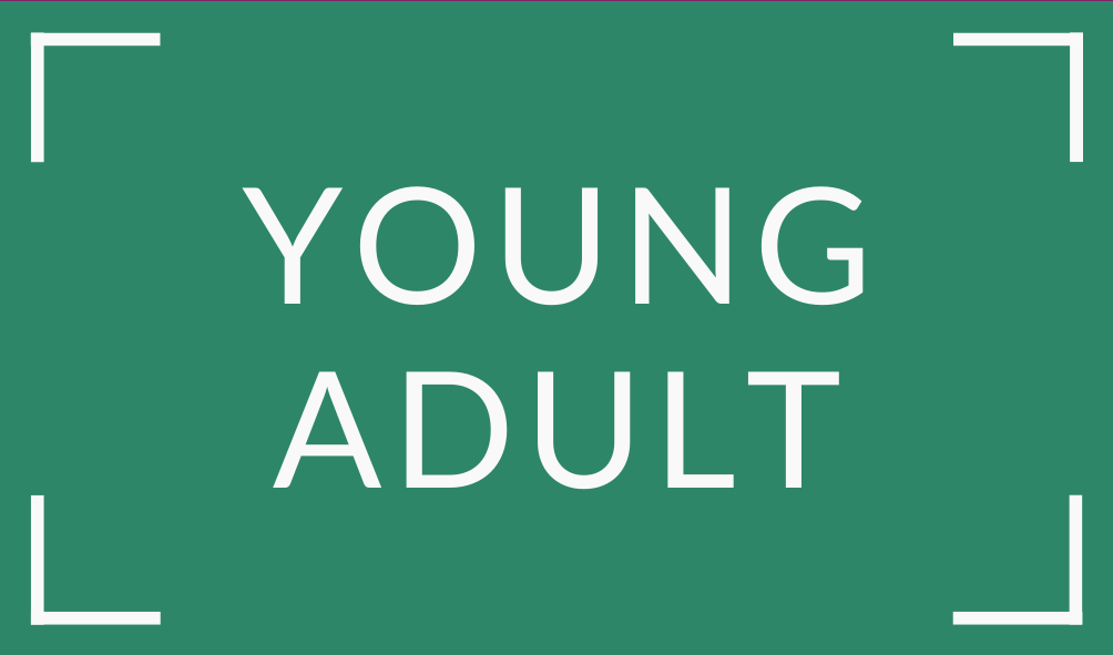 white text young adult on green background
