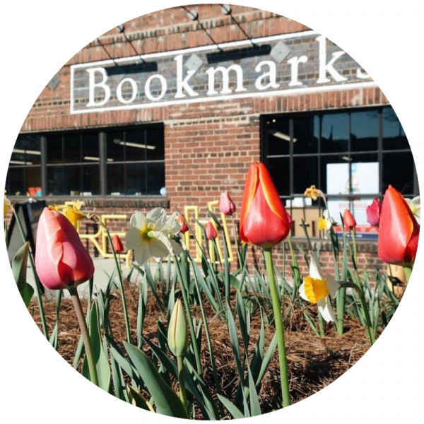 Picture of Bookmarks building with tulips in foreground