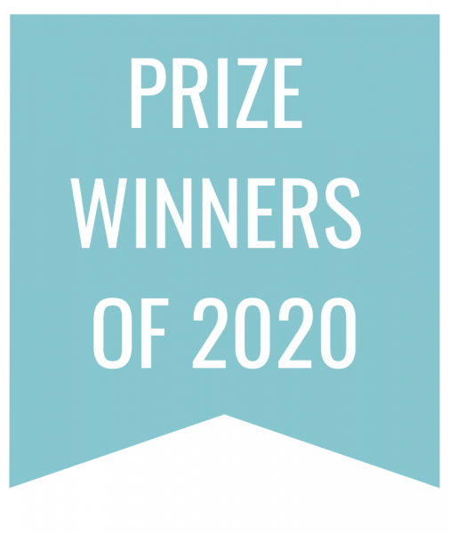 Prize Winners of 2020 in white text on blue bookmark