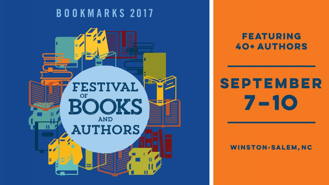 Books of different colors; text: Bookmarks 2017 Festival of Books and Authors